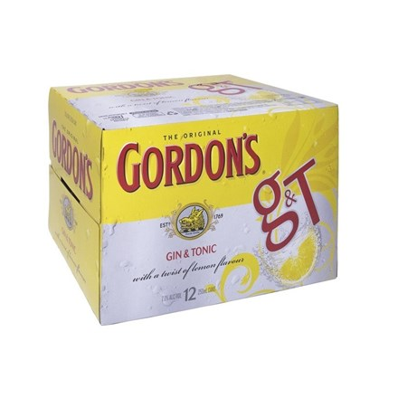 GORDON'S 12PK CANS 250ML GORDON 12 PK CANS 250 ML